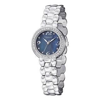 Stuhrling Original Women's Tresor Swiss Quartz Crystal Blue-dial Stainless Steel Bracelet Watch
