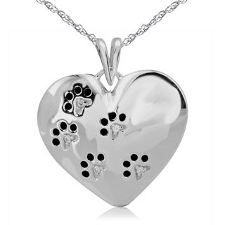 ASPCA Tender Voices Silver Diamond Accent Paw Print Heart Necklace