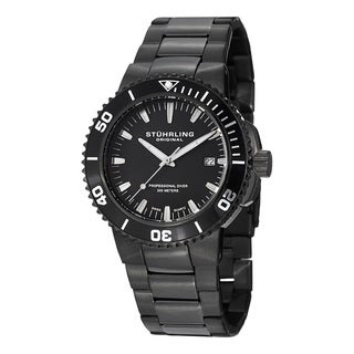 Stuhrling Original Men's Regatta Corvet Black Professional Diver Stainless Steel Bracelet Quartz Watch