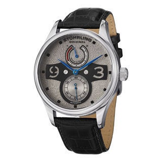 Stuhrling Original Men's Khepri Automatic Black-leather Strap Watch