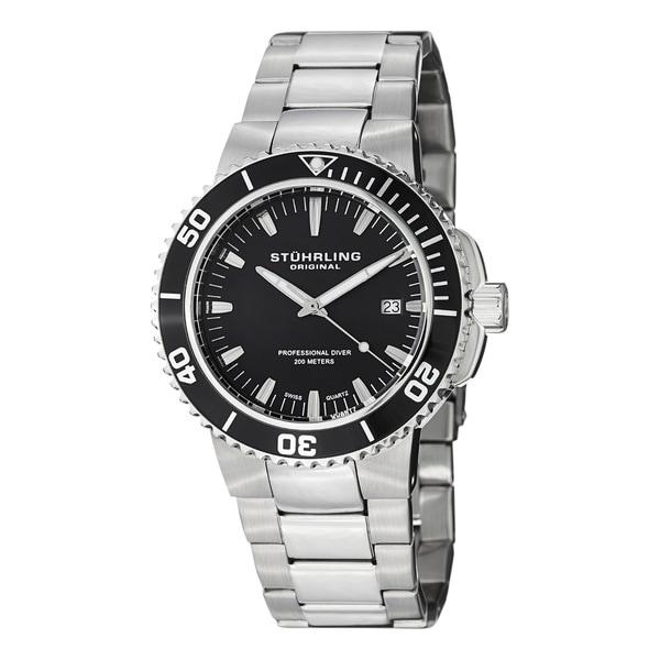 Stuhrling Original Men's Regatta Corvet Water-resistant Professional Diver Stainless Steel Bracelet Quartz Watch