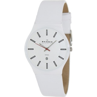 Skagen Men's White Leather Silver Dial Quartz Watch
