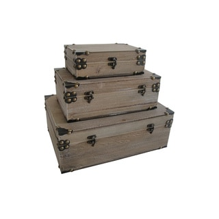 Set of Distressed Industrial Trunks (China)