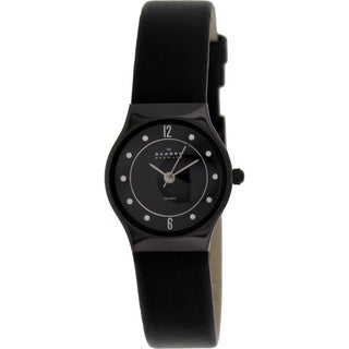 Skagen Women's Black Leather Black Dial Quartz Watch