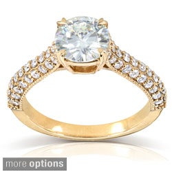 14k Gold Round-cut Moissanite and 1/2 ct TDW Pave-set Diamond Engagement Ring (G-H, I1-I2)