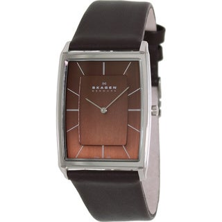 Skagen Men's 857LSLD Brown Leather Quartz Watch with Brown Dial