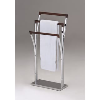 Chrome Walnut Finish Metal Towel Bathroom Rack Stand