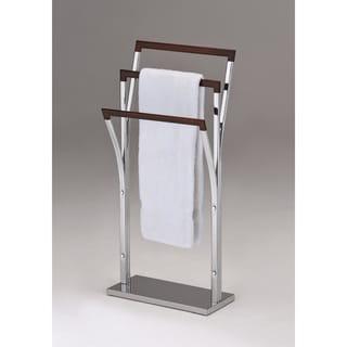 Chrome Walnut Finish Metal Towel Bathroom Rack Stand