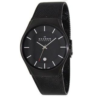 Skagen Men's 956XLTBB Black Titanium Quartz Watch with Black Dial