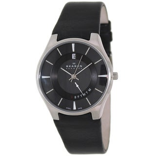Skagen Men's 989XLSLB Black Leather Analog Quartz Watch with Black Dial