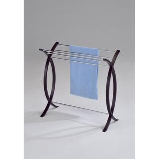 Chrome Walnut Finish Towel Bathroom Rack Stand
