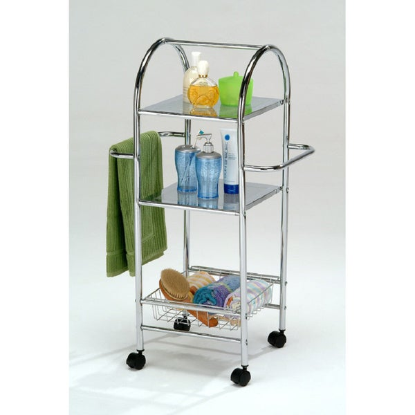 Chrome Finish Metal Bathroom Towel Storage Shelf