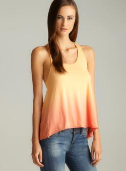 Colorfast Orange Tie Dye Open Racerback Top