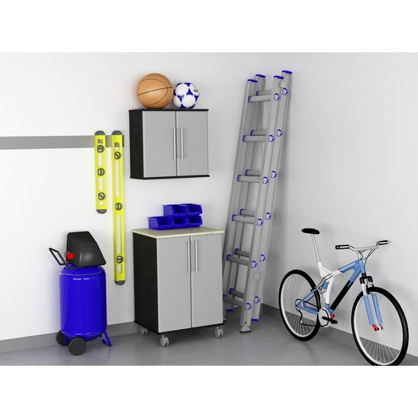 Altra Garage Wall Cabinet and Two Door Cart Set