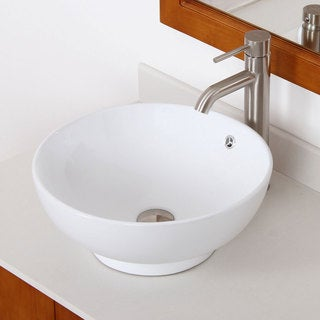 ELITE 9851F371023BN High Temperature Grade A Ceramic Bathroom Sink With Round Design and Brushed Nickel Finish Faucet Combo<