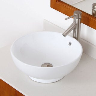 ELITE 98512659BN High Temperature Grade A Ceramic Bathroom Sink With Round Design and Bushed Nickel Finish Faucet Combo