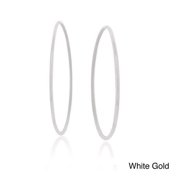 Mondevio 10k Gold 18mm Endless Diamond Cut Hoop Earrings