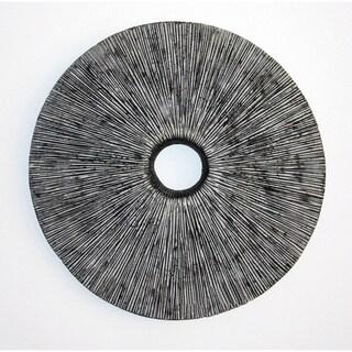 Set of 2 Ribbed Round Sandstone Wall Decor (China)