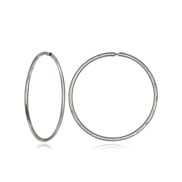 Mondevio 10k Gold 14mm Endless Diamond Cut Hoop Earrings