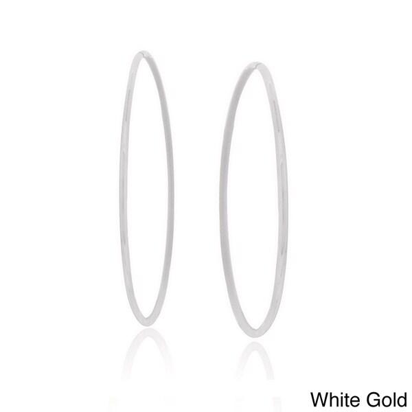 Mondevio 14k Gold 18mm Endless Diamond Cut Hoop Earrings