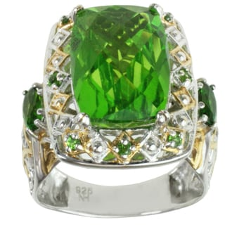 Michael Valitutti Two-tone Green Quartz and Chrome Diopside Ring