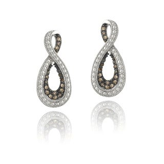 DB Designs Sterling Silver 1/3ct TDW Champagne Diamond Infinity Dangle Earrings