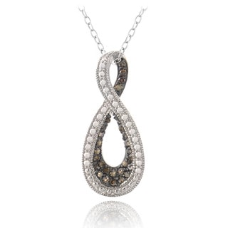 DB Designs Sterling Silver 1/4ct TDW Champagne Diamond Infinity Necklace