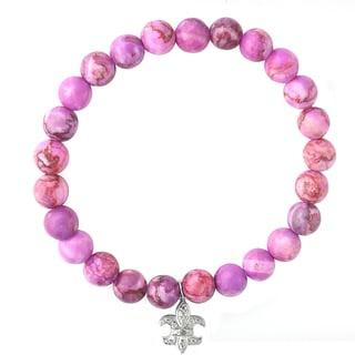 DB Designs Diamond Accent Fleur De Lis Stretch Charm Bead Bracelet
