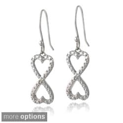 DB Designs Sterling Silver Diamond Accent Infinity Hearts Dangle Earrings