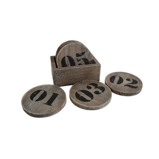 Distressed Wood Numbered Coaster Set (China)