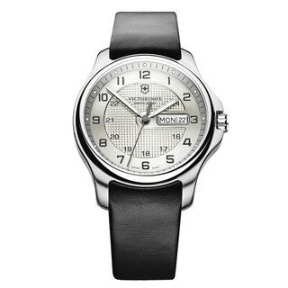 Victorinox Swiss Army Men's Leather Officers Grey Dial Watch