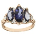 Michael Valitutti 10k Rose Gold Iolite and Diamond Ring