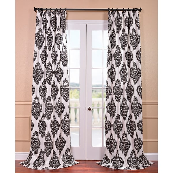 Ikat Black Printed Cotton Curtain Panel