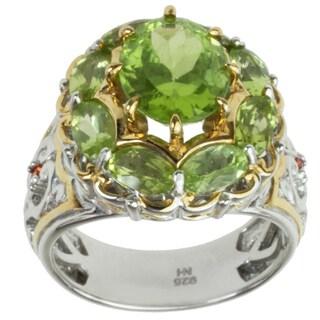 Michael Valitutti Two-tone Peridot and Orange Sapphire Ring