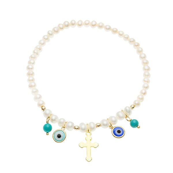 Sterling Silver Goldtone Turquoise and Fresh Water Pearl Lucky Eye Charm Bracelet