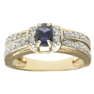 Michael Valitutti Highly Polished 14k Yellow Gold Iolite and Diamond Ring