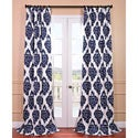 Ikat Blue Printed Cotton Curtain Panel