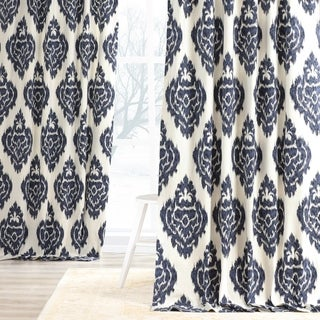 Exclusive Fabrics Ikat Blue Printed Cotton Curtain Panel