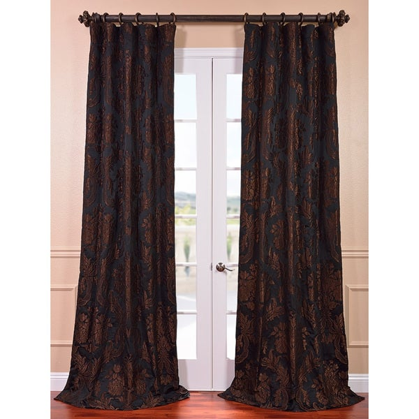 Magdelena Black Cognac Faux Silk Jacquard Curtain Panel