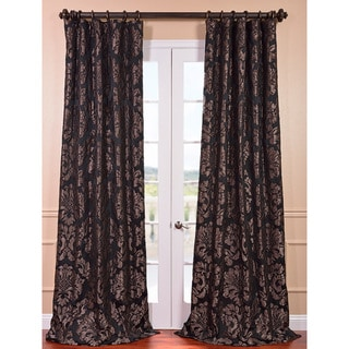 Astoria Black/ Pewter Faux Silk Jacquard Curtain Panel