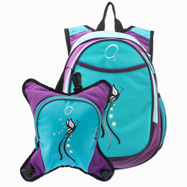 obersee munich turquoise butterfly school backpack with detachable lunch cooler 15561695. Black Bedroom Furniture Sets. Home Design Ideas