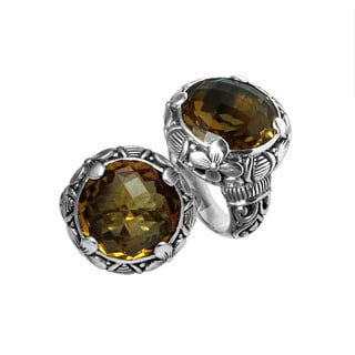 Handcrafted Sterling Silver Bali Citrine Floral Etchings Ring (Indonesia)