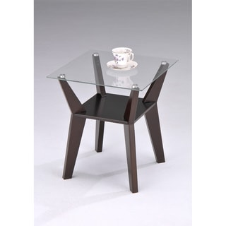 Square Glass Walnut Finish Chair Side End Table