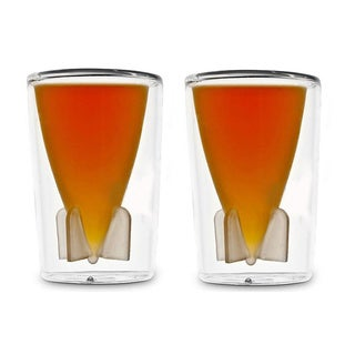 Double Layer Glass Cup with Missile Inside, 2-Pack