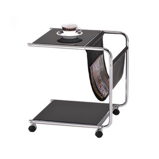 Black Chrome Sofa Chairside Snack End Table/ Magazine Holder