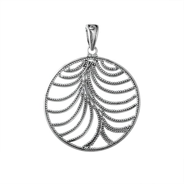 Handcrafted Sterling Silver Round Beaded Leaf Bali Pendant (Indonesia)