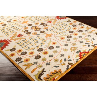 Murad Meticulously Woven White Contemporary Floral Rug (5'3 x 7'6)