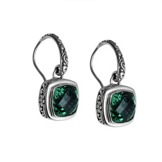 Sterling Silver Bali Faceted Square Green Quartz Dangle Earrings (Indonesia)