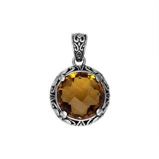 Handcrafted Sterling Silver Bali Faceted Round Citrine Floral Motif Bezel Pendant (Indonesia)