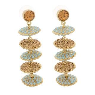 NEXTE Jewelry Goldtone Teal and Amber Rhinestone Disc Earrings